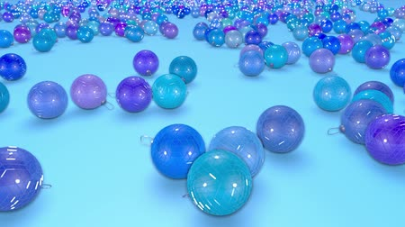 good new year spirit : christmas balls fall crumble to the surface with depth of field. 3d animation for new year compositions or background. shades of blue 12