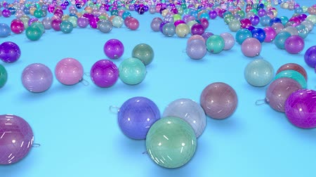 good new year spirit : christmas balls fall crumble to the surface with depth of field. 3d animation for new year compositions or background. 5