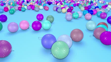 good new year spirit : christmas balls fall crumble to the surface with depth of field. 3d animation for new year compositions or background. 20 multicolor