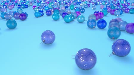 безделушка : christmas balls fall crumble to the surface with depth of field. 3d animation for new year compositions or background. 1 shades of blue