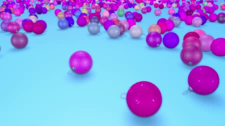 large number of : christmas balls fall crumble to the surface with depth of field. 3d animation for new year compositions or background. shades of violet