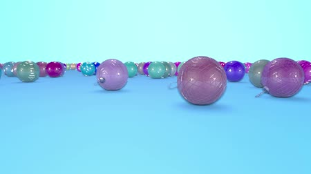 good new year spirit : christmas balls fall crumble to the surface with depth of field. 3d animation for new year compositions or background.