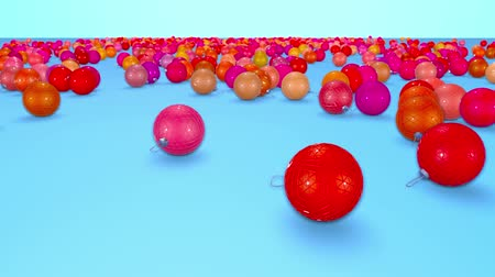 good new year spirit : christmas balls fall crumble to the surface with depth of field. 3d animation for new year compositions or background. shades of red