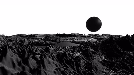 other planet : 3d render of cosmic landscape as background or environment. Planet from space view from the spacecraft very detailed surface relief of the planet. Science fiction, wide viewing angle, timelapse. 19