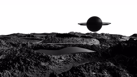 other planet : 3d render of cosmic landscape as background or environment. Planet from space view from the spacecraft very detailed surface relief of the planet. Science fiction, wide viewing angle, timelapse. 20