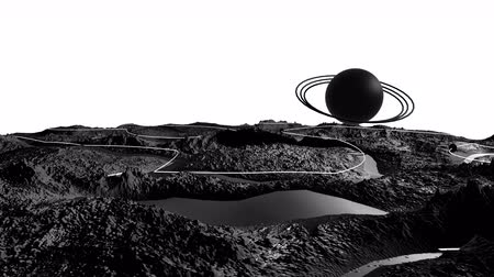 other planet : 3d render of cosmic landscape as background or environment. Planet from space view from the spacecraft very detailed surface relief of the planet. Science fiction, wide viewing angle, timelapse. 21
