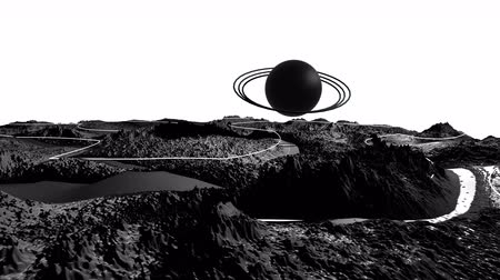 other planet : 3d render of cosmic landscape as background or environment. Planet from space view from the spacecraft very detailed surface relief of the planet. Science fiction, wide viewing angle, timelapse. 22