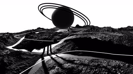 other planet : 3d render of cosmic landscape as background or environment. Planet from space view from the spacecraft very detailed surface relief of the planet. Science fiction, wide viewing angle, timelapse. 27