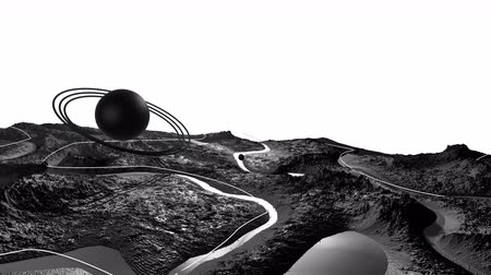 planet : 3d render of cosmic landscape as background or environment. Planet from space view from the spacecraft very detailed surface relief of the planet. Science fiction, wide viewing angle, timelapse. 30