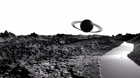 other planet : 3d render of cosmic landscape as background or environment. Planet from space view from the spacecraft very detailed surface relief of the planet. Science fiction, wide viewing angle, timelapse. 34