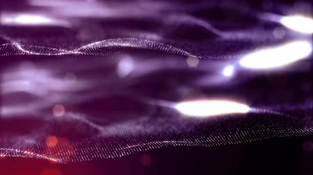 nanotechnology : luminous particles like Christmas lights hanging in the air, flying and forming abstract shapes and surfaces. abstract particle background as sci-fi or microcosm, nano world. Red 2 Stock Footage