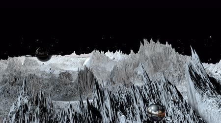 other planet : 3d render of cosmic landscape as background or environment. Planet from space view from the spacecraft very detailed surface relief of the planet. Science fiction, wide viewing angle, timelapse. 62