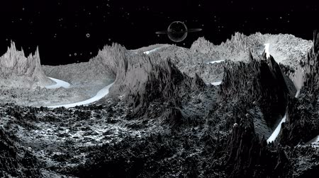 other planet : 3d render of cosmic landscape as background or environment. Planet from space view from the spacecraft very detailed surface relief of the planet. Science fiction, wide viewing angle, timelapse. 64