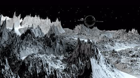 other planet : 3d render of cosmic landscape as background or environment. Planet from space view from the spacecraft very detailed surface relief of the planet. Science fiction, wide viewing angle, timelapse. 68 Stock Footage