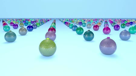 good new year spirit : christmas balls on surface in a rows. 3d animation for new year compositions or background with depth of field. amera moves smoothly above the surface. Multi colored 5 Stock Footage