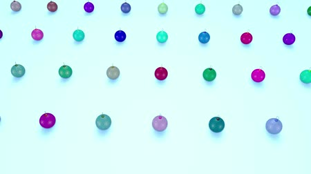 跳ねる : christmas balls on surface in a rows. 3d animation for new year compositions or background with depth of field. amera moves smoothly above the surface. Multi colored 14
