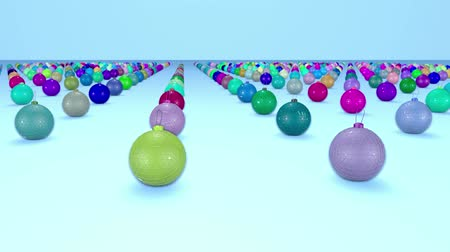 good new year spirit : christmas balls on surface in a rows. 3d animation for new year compositions or background with depth of field. amera moves smoothly above the surface. Multi colored 16