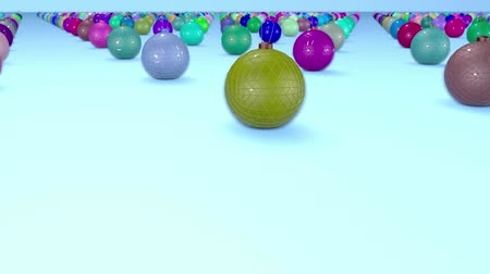 ilginç : christmas balls on surface in a rows. 3d animation for new year compositions or background with depth of field. amera moves smoothly above the surface. Multi colored 19 Stok Video