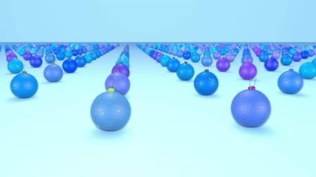 good new year spirit : christmas balls on surface in a rows. 3d animation for new year compositions or background with depth of field. amera moves smoothly above the surface. Blue shades 5 Stock Footage