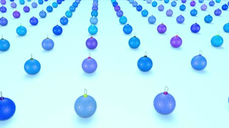 good new year spirit : christmas balls on surface in a rows. 3d animation for new year compositions or background with depth of field. amera moves smoothly above the surface. Blue shades 9 Stock Footage