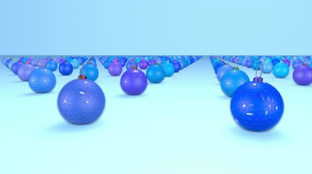 good new year spirit : christmas balls on surface in a rows. 3d animation for new year compositions or background with depth of field. amera moves smoothly above the surface. Blue shades 10 Stock Footage