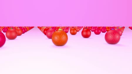 good new year spirit : christmas balls on surface in a rows. 3d animation for new year compositions or background with depth of field. amera moves smoothly above the surface. Red shades 5