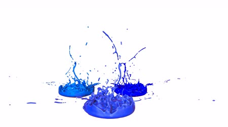 살아있는 : 3d render of liquid splash on jar like paint on sound speaker. colorful 3d composition with paint. juicy bright liquid composition. Blue shades 3 무비클립