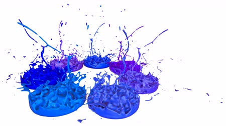 跳ねる : 3d render of liquid splash on jar like paint on sound speaker. colorful 3d composition with paint. juicy bright liquid composition. Blue shades 2 動画素材
