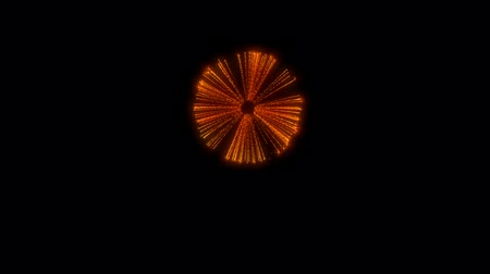 firecracker : Single firework isolated on black background. 3d animation 3d render close up view. Golden red color 17