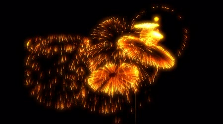 meia noite : multiple volleys of fireworks isolated on black background. 3d animation 3d render close up view. Golden red color complex fireworks 4