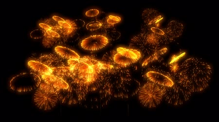 firecracker : multiple volleys of fireworks isolated on black background. 3d animation 3d render close up view. Golden red color complex fireworks