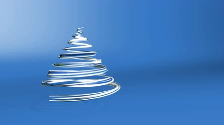 dětinský : A shiny festive ribbon forms a Christmas tree symbol that rotates. 3d render of Christmas bright juicy composition. Seamless looped animation. Blue white ribbon on blue background. 3 Dostupné videozáznamy