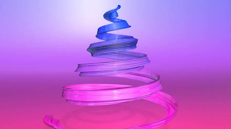 gyerekes : A shiny festive ribbon forms a Christmas tree symbol that rotates. 3d render of Christmas bright juicy composition. Seamless looped animation. blue red gradient ribbon and gradient background. wide 2