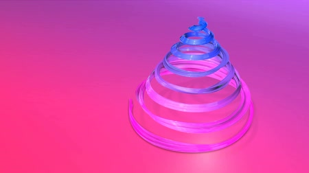 janeiro : A shiny festive ribbon forms a Christmas tree symbol that rotates. 3d render of Christmas bright juicy composition. Seamless looped animation. blue red gradient ribbon and gradient background. 8 Vídeos