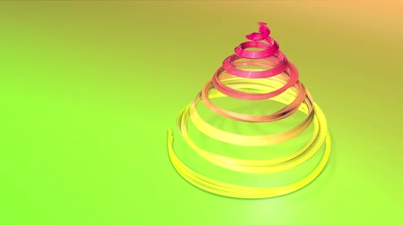 dětinský : A shiny festive ribbon forms a Christmas tree symbol that rotates. 3d render of Christmas bright composition. Seamless looped animation. green yellow red gradient ribbon and gradient background. 2 Dostupné videozáznamy