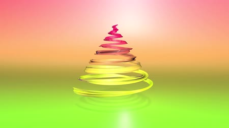 dětinský : A shiny festive ribbon forms a Christmas tree symbol that rotates. 3d render of Christmas bright composition. Seamless looped animation. green yellow red gradient ribbon and gradient background. 3 Dostupné videozáznamy