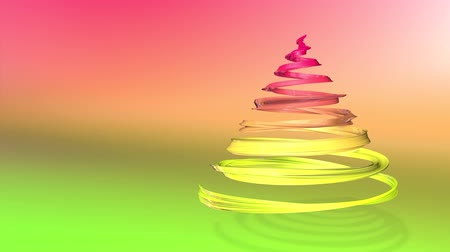 dětinský : A shiny festive ribbon forms a Christmas tree symbol that rotates. 3d render of Christmas bright composition. Seamless looped animation. green yellow red gradient ribbon and gradient background. 15