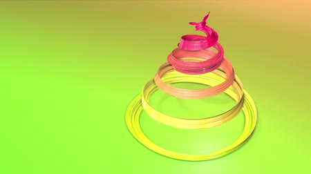 originell : A shiny festive ribbon forms a Christmas tree symbol that rotates. 3d render of Christmas bright composition. Seamless looped animation. green yellow red gradient ribbon and gradient background. 16