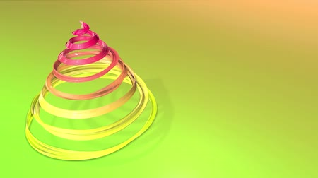 time year : A shiny festive ribbon forms a Christmas tree symbol that rotates. 3d render of Christmas bright composition. Seamless looped animation. green yellow red gradient ribbon and gradient background. 17