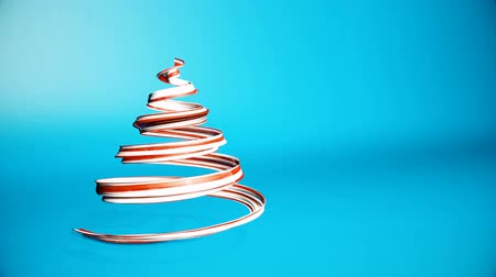 1月 : A shiny festive ribbon forms a Christmas tree symbol that rotates. 3d render of Christmas bright juicy composition. Seamless looped animation. Red white ribbon on blue background. 7 動画素材