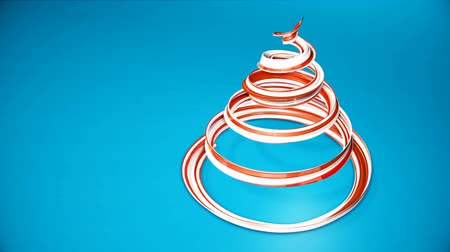 dětinský : A shiny festive ribbon forms a Christmas tree symbol that rotates. 3d render of Christmas bright juicy composition. Seamless looped animation. Red white ribbon on blue background. 9
