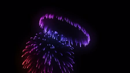 consecutivo : consecutive fireworks volleys isolated on black background. 3d animation 3d render close up view. Multicolored 3 Stock Footage