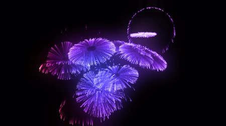 fişekçilik : multiple volleys of fireworks isolated on black background. 3d animation 3d render close up view. Multicolored complex fireworks 17