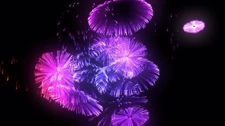 glow pyrotechnics : multiple volleys of fireworks isolated on black background. 3d animation 3d render close up view. Multicolored complex fireworks