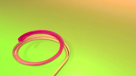 původní : A shiny festive ribbon forms a Christmas tree symbol. 3d render christmas bright fresh composition. 3d new year composition. red violet gradient ribbon on green background 17