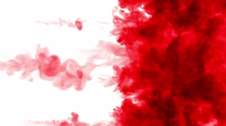 visual effect : red ink on a white background. 3d render, with luma matte, many ink injections 4