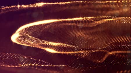 abstract animated : looped background of luminous particles, the theme of the microworld or space, science fiction or a beautiful mysterious background with shiny iridescent particles. Golden v2 strings Stock Footage