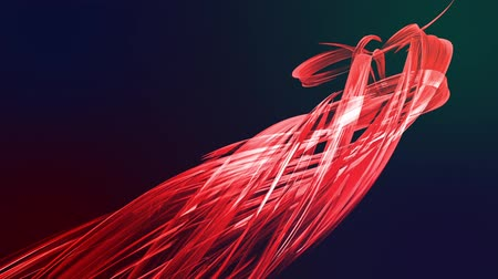 spektrum : colorful red stripes in circular formation twist, move in a circle. Seamless creative background, looped 3d smooth animation of bright shiny ribbons curled in circle glitters like glass. 2 Stok Video