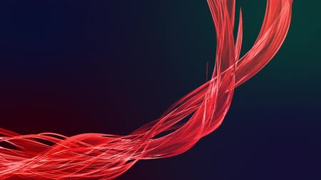 sheen : colorful red stripes in circular formation twist, move in a circle. Seamless creative background, looped 3d smooth animation of bright shiny ribbons curled in circle glitters like glass. Stock Footage