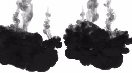 sualtı : black ink on a white background. 3d render, with luma matte. circular ink injection structure 5 Stok Video